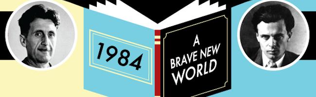 """À gauche, Aldous Huxley avec son roman """"Le Meilleur des mondes"""". À droite, George Orwell avec """"1984"""". Tous les 2 ont dépeint ce qu'ils imaginaient pour la société future dans leurs romans de SF."""